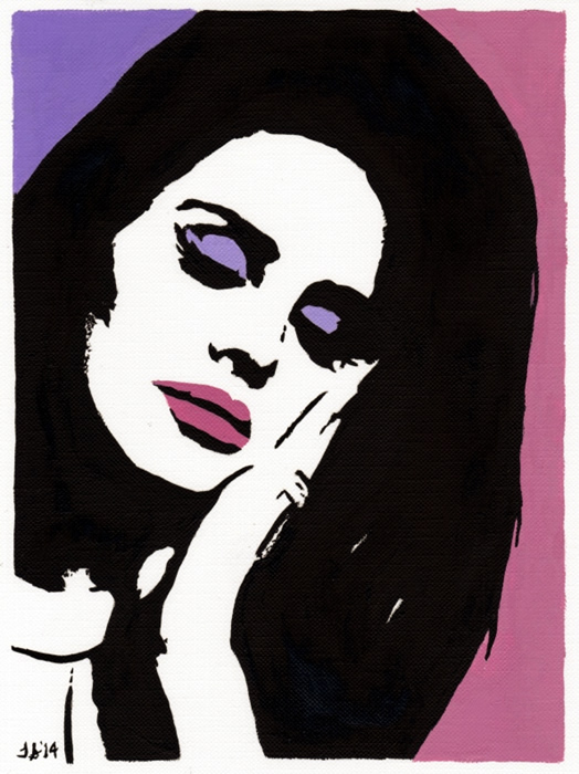 "LANA DEL REY Pop Art OIL PAINTING -NEW Original 6"" X 8 ..."